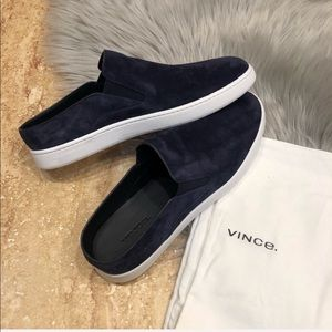 Vince. | Verrell Deep Blue Suede Slip-On Shoes